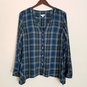 J Jill Plaid Button Up Tunic Blouse